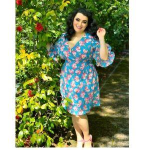 Betsey Johnson Vintage Rose Dress Blue 20 NWT